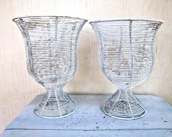 Indoor Outdoor Vintage Weathered Wired Candle Holder Baskets Vintage Outdoor Garden Decor Nautical Wired Basket Candle Holders Home Decor