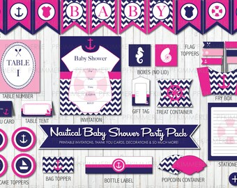 Nautical Themed Baby Shower Printable Party Pack, Party Decorations, DIY Party, Pink Party