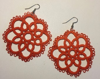 Tatted Earrings - Burnt Orange - Large and Light - Three Inches Long - Ready to Ship