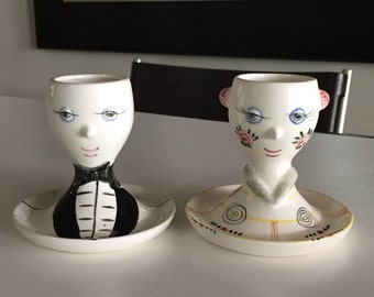 Anthropomorphic Egg Holders/ Egg Cups/ Face Egg Cups/Hand Painted Ceramic Egg Cups/JUST REDUCED/By Gatormom13
