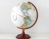 """Vintage Replogle 12"""" World Classic Series Globe with Wood Stand / Made in USA / Item No. 1546"""