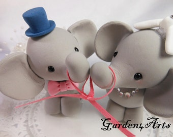 NEW--Custom Wedding Cake Topper--Love Elephant Couple with circle clear base