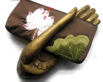 Brown Silk Wallet-Clutch -Hand Embroidered with Lotus Flower