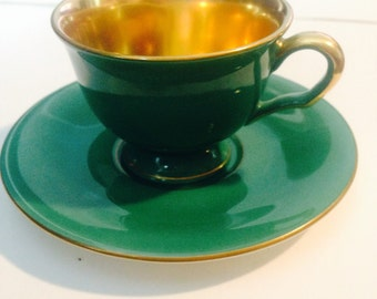 PICKARD Green and Gold DEMITASSE Cup and Saucer, Stylish and Elegant!