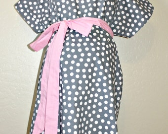LINED MaddenMiller Maternity Hospital Gown - Grey Polka Dots - Lined in the Color of Your Choice- by Mommy Moxie