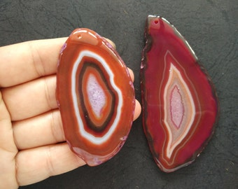 Giant Large Brown Red Pink Stripe Druzy Agate Pendant  -As Pictured -#160926018
