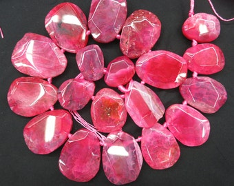 Top Drilled Red agate Teardrop slab Beads 27x38mm to 20x25mm- 18pcs/str