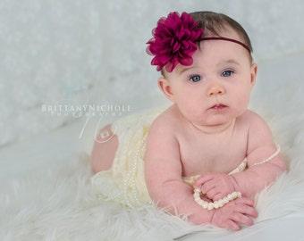 Burgundy baby headband, wine baby headband, maroon baby headband, infant headband, newborn headband, Christmas headband, hairband