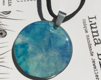 Light Blue Luna Bird's handmade PaperOpal with stainless steel finding