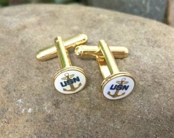 Navy Cufflinks / U.S. Navy Cuff Links NAVY-CL / Military Cufflinks / Military Gift / Navy Gift / Armed Forces / US Cufflinks / Patriotism