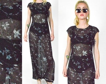 1990's FLORAL Blue and BLUE Sheer MESH Dress. Long Floral Dress. 90's Grunge. Photographic Pattern