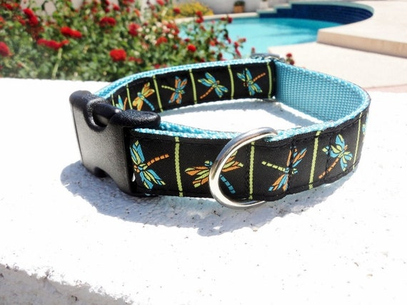 "Dog Collar Dragonfly 1"" wide Quick Release buckle - no martingale limited ribbon"