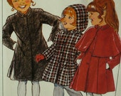 Girls Hooded Coat Pattern, Capelet, Princess Seams, Lined, Collar, Side Pockets, Style No. 3746 UNCUT Size 4 French/English Instructions