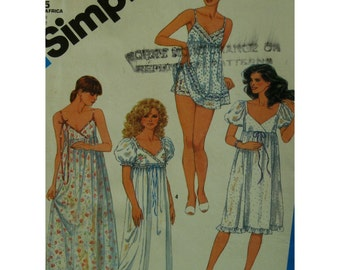 80s Baby Doll Pajamas Pattern, Shoestring Strap Nightgown, Empire Waist, Criss Cross Bodice, Sleeves, Simplicity No. 6468 UNCUT Size 12