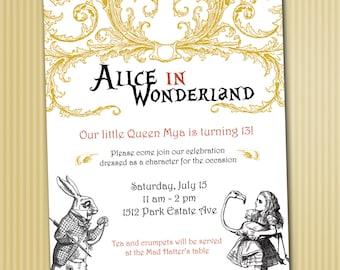 Alice in Wonderland Invitations *Digital Download*