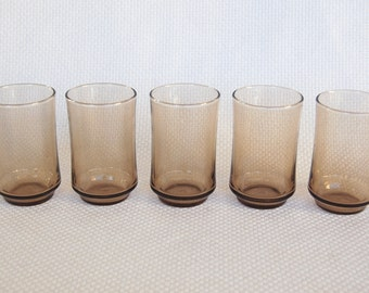 Set of 5 Small Vintage Libbey Juice Glasses Tawny Brown 6 ounce Bolero Style