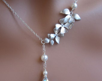 Silver Orchids Flower Pearl Crystal Drop Wedding Necklace Womens Bridal Jewelry Gift