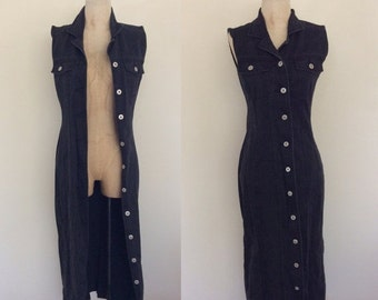 SALE 1990's Black Denim Button Up Dress or Duster Size Small by Maeberry Vintage