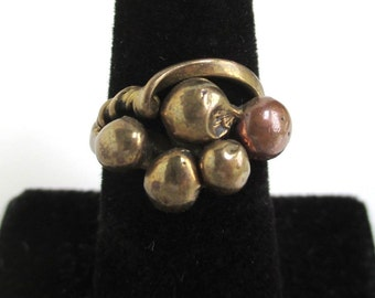 Unique Handmade Solid Brass Ring w/ Copper Accent - Vintage, Size 6 1/4
