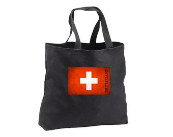 Tote Bag - Switzerland Flag - Canvas Tote - Book Bag