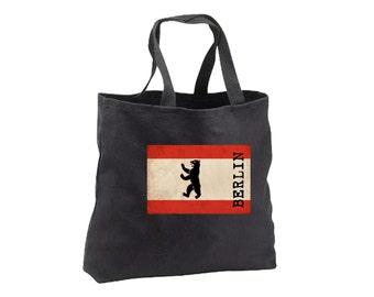 Tote Bag - Berlin Flag - Canvas Tote - Book Bag - Berlin Flag