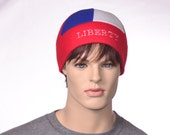Liberty Beanie Hat Red White Blue 6 Panel Fleece Winter Hat Man Woman Skullcap Patriotic Cap