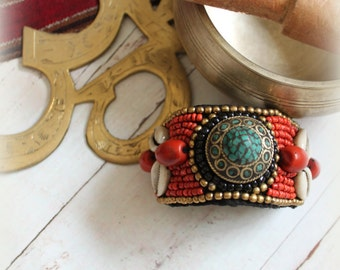 Tibet Nepal Fabric beaded bracelet Red Coral Turquoise Black beads Cowriwe shells Bracelet Boots accessories boho chic Tribal chic By Inali