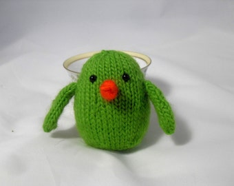 Hand Knit Bird Toy. Lime Green Bird. Baby Bird Woodland Plushie. Pretend Play. Stuffed Bird. Basket Stuffer. Ready To Ship. Gifts Under 10