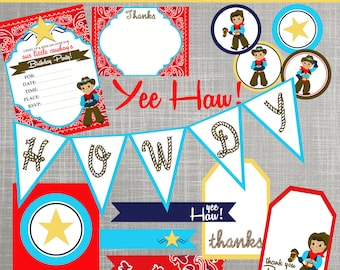 Cowboy Birthday Party Decorations - Cowboy Baby Shower Decorations - PRINTABLE / DIY - Cowboy Cutie Collection