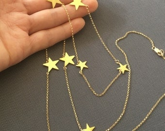 Star Necklace-Sideways Star Necklace,star initial Necklace-initial star ecklace-multi star necklace-Personalized Star Necklace-Momentusny