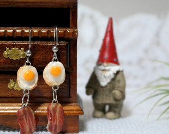 Miniature Bacon and Egg Earrings//Breakfast Earrings