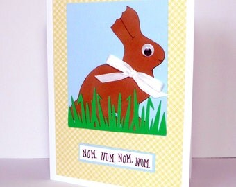 Happy Easter Greeting Card - Easter Bunny Nom, Nom Handmade Paper Card with Coordinating Embellished Envelope