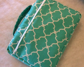 Bible Cover Teal and White With Choice of Zipper Colors