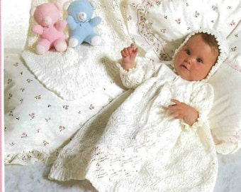 Knitting pattern,heirloom,  baby christening outfit, 3piece baptism, shawl. gown and bonnet, Immediate download