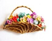 Vintage 1950's Handmade Basket Brooch Full of Pastel Flowers