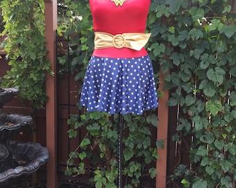 Wonder Woman Inspired Superhero Dress Costume, size Small