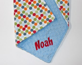PERSONALIZED Baby Blanket, Polka Dots Blanket, Baby Boy Blanket, Double Minky Blanket or Lovey with Sky Blue Minky - Or Choose Solid Color