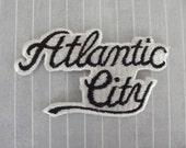 "Vintage 3.5"" SEW ON Iron On Patch Atlantic City Black White Script Embroidered Atlantic City New Jersey NJ Jacket Shirt Hat Vest Patch Ac"