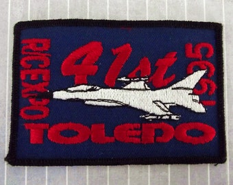 """Big Vintage 4"""" Iron On   Sew On 41st R/C Expo Patch, Toledo Ohio Applique, Travel Souvenir Collectible, Fighter Jet Remote Controlled Model"""