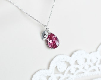 Initial Necklace, Personalized Initial Necklace, Monogram Initial Necklace, Fuchsia Swarovski Teardrop Initial Necklace, Bridesmaids Gift