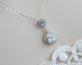 Bridal Necklace, Cubic Zirconia Heart Shape and Large Cubic Zirconia Crystal Tear Drop Necklace, Bridesmaids Necklace, CZ Bridal Jewelry,