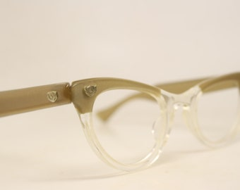 Unused Vintage Lucite Cat Eye Glasses Light Brown Fade Authentic 1960's Frames