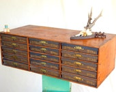 Unusual Vintage BRAINERD ARMSTRONG Silk Thread Spool Cabinet: Wooden Mercantile Organizer + 15 Pull-out Lidded Boxes -- Card Catalog / File