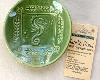 Seahorse Garlic Bowl with Dipping Oil Recipe Blue or Green  #dipping oil #soap dish  #seahorse  #gift