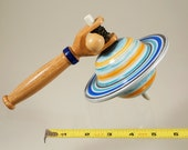 Toy top . Wood spinning top with handle. Galaxy top. Handmade heirloom toy.