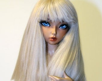 BJD- 6/7 Pale Creamy Blonde Alpaca Wig