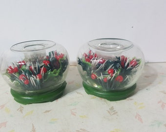 Holly Filled Candle Holders Christmas Vintage Hong Kong