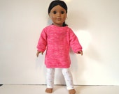 18 inch Doll off the shoulder pink fleece knit shirt top white leggings roses outfit set