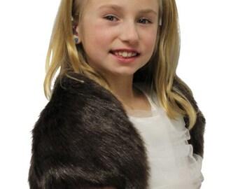 Summer Sale Brown Faux Fox Fur Bridal Bolero Crop Jacket, Shrug Coat 603NF-FG-BRN