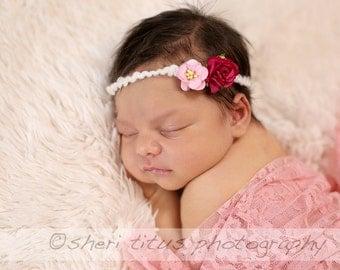 Small Pink Flower Tieback Headband - Tieback Photo Prop - Newborn Tieback Headband - Fuchsia Pink Flowers